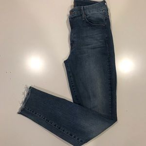 Mother High Waisted Looker Ankle Fray Jeans (27)